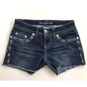 MAURICES Women's Frayed Hem Denim Shorts Sz 1/2